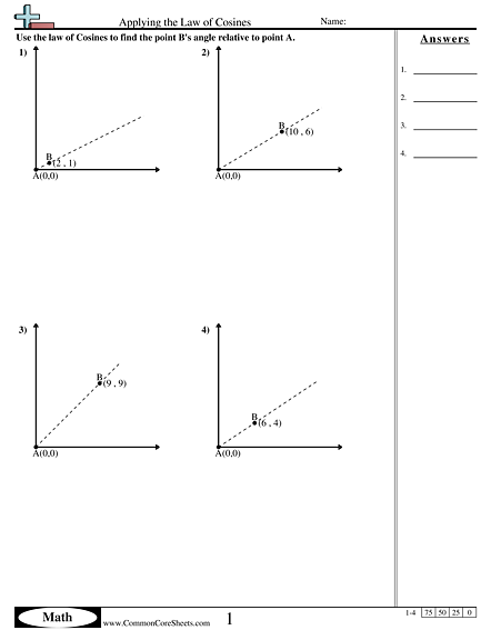 Algebra Worksheets - Applying the Law of Cosines worksheet