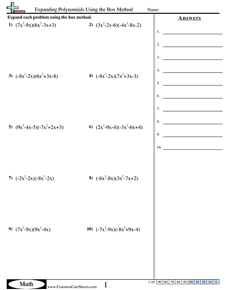 Algebra Worksheets - Expanding Polynomials Using the Box Method worksheet