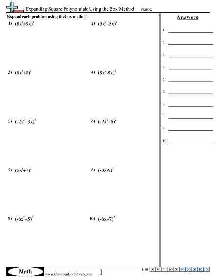 Algebra Worksheets - Expanding Square Polynomials Using the Box Method worksheet