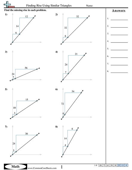 Algebra Worksheets - Finding Rise using Similar Triangles worksheet