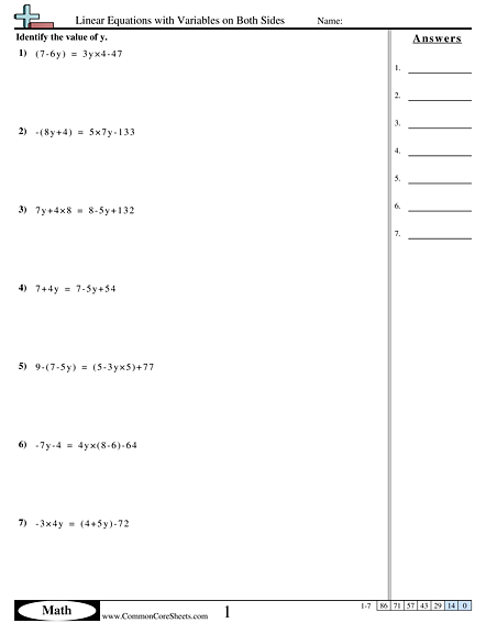Algebra Worksheets - Linear Equations with Variables on Both Sides worksheet