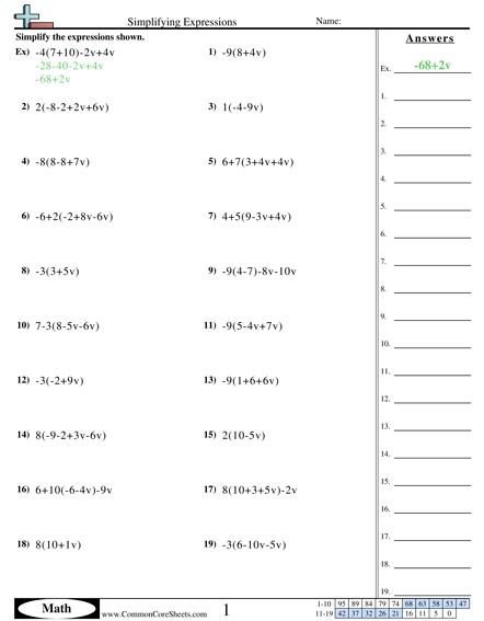 Algebra Worksheets - Simplifying Expressions worksheet