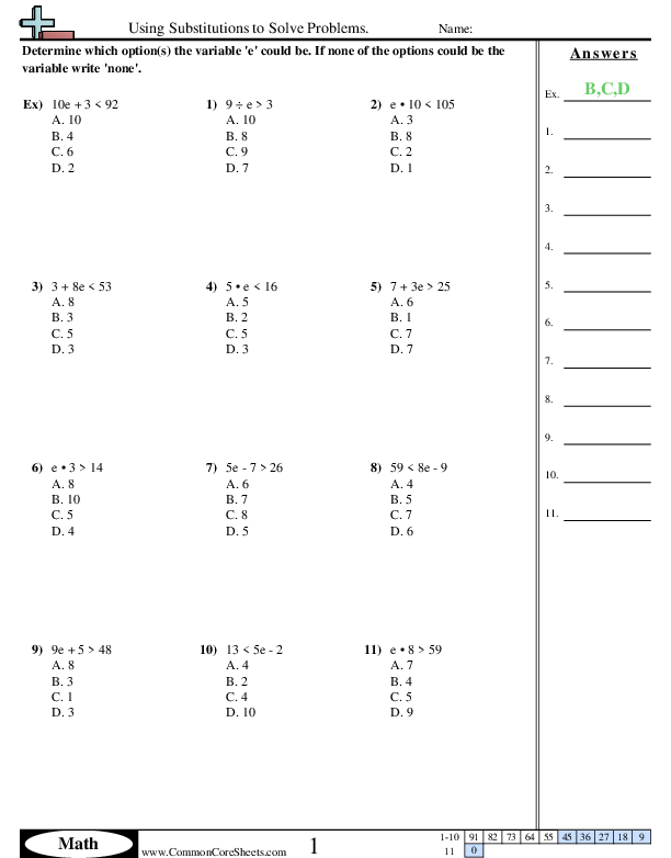 Algebra Worksheets - Using Substitutions to Solve Problems.  worksheet